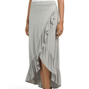 Ruffle Wrap Maxi Skirt, Gray, by Thyme & Honey